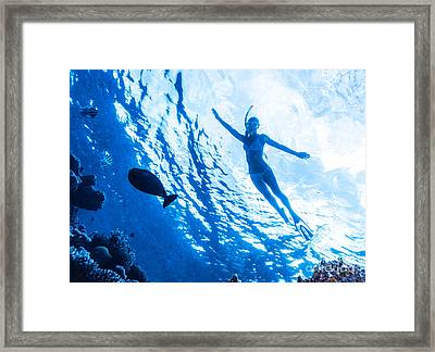 Active Woman Diving Framed Print