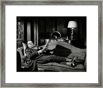 Actor Alexander Woollcott On A Couch Framed Print by Nick Lazarnick