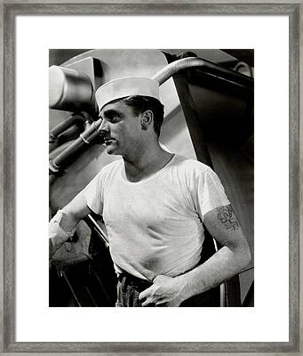 Actor James Cagney Wearing A Sailor Hat Framed Print by George Hoyningen-Huene