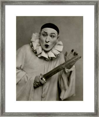 Actor Lionel Atwill In A Pierrot Costume Framed Print by Nickolas Muray