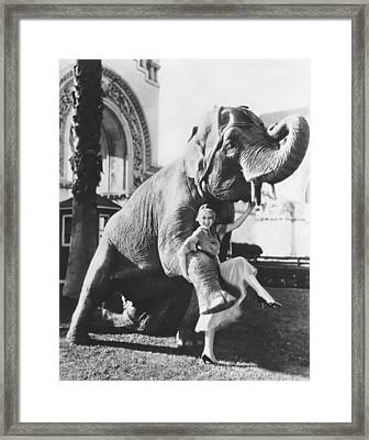 Dancing With Elephant Framed Print by Underwood Archives