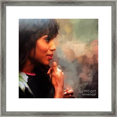 Actress Kerry Washington Framed Print by Nishanth Gopinathan
