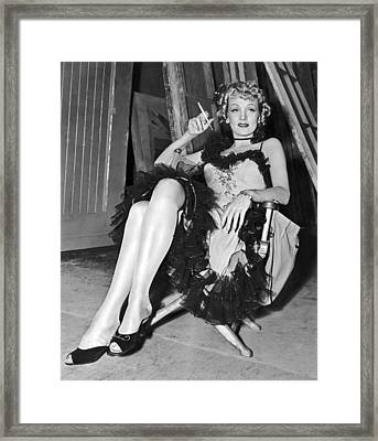 Actress Marlene Dietrich Framed Print by Underwood Archives