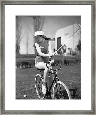 Actress Plays Bike Polo Framed Print by Underwood Archives