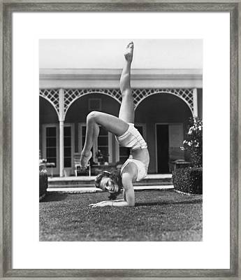 Actress Vera Zorina Exercising Framed Print by Underwood Archives