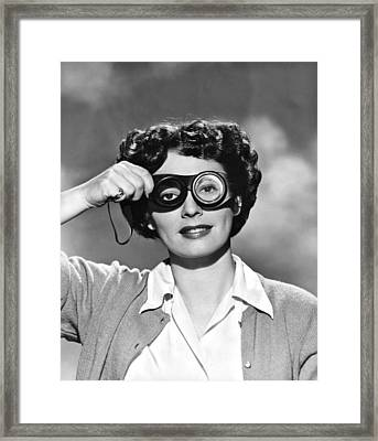 Actress With Smogoggles Framed Print by Bert Six