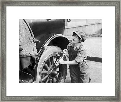 Actress Working On Her Car Framed Print by Underwood Archives