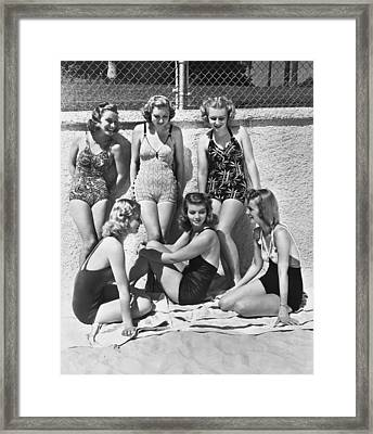 Actresses At Malibu Beach Framed Print by Underwood Archives