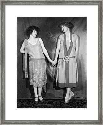 Actresses At The Hotel Astor Framed Print by Underwood Archives