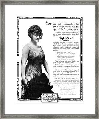 Ad Corset, 1919 Framed Print