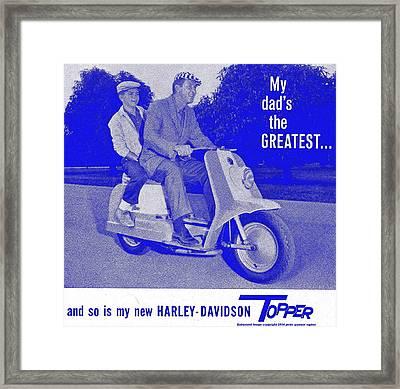 Ad For The 1954 Harley Davidson Topper Scooter In Blue Framed Print by Peter Gumaer Ogden