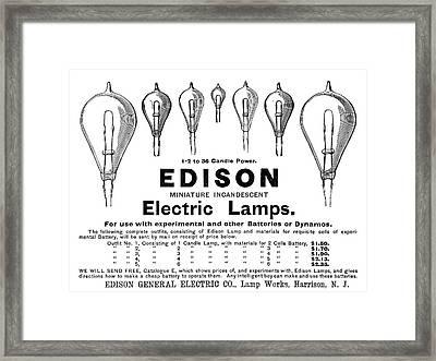 Ad Lightbulbs, 1890 Framed Print by Granger
