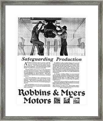 Ad Motor, 1918 Framed Print by Granger
