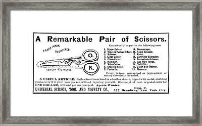 Ad Novelty Scissors, 1901 Framed Print by Granger