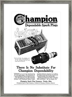 Ad Spark Plugs, 1919 Framed Print by Granger