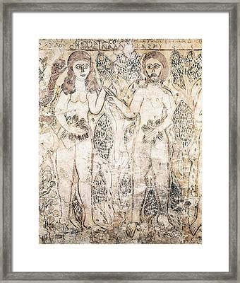 Adam And Eve. 10th C. Coptic Art Framed Print