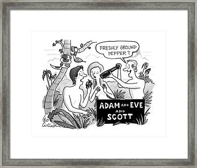 Adam And Eve And Scott Framed Print