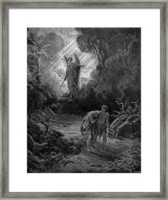 Adam And Eve Driven Out Of Eden Framed Print by Celestial Images