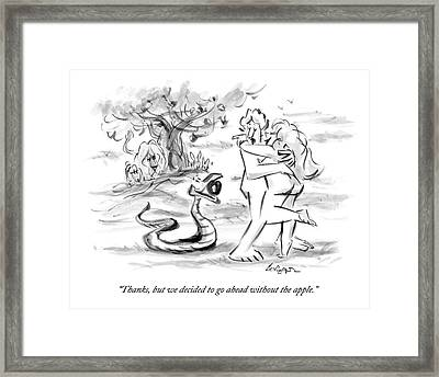 Adam And Eve Embrace In The Garden Of Eden Framed Print