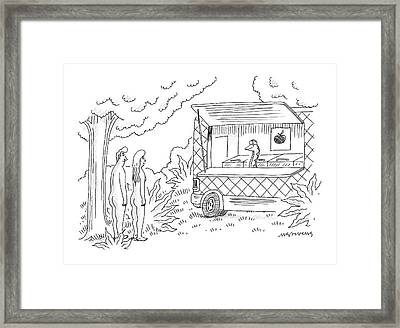 Adam And Eve Encounter An Apple Food-truck Framed Print