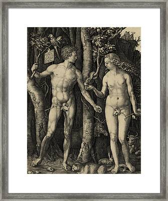 Adam And Eve In The Garden Of Eden - Albrecht Durer 1504 Framed Print by Daniel Hagerman