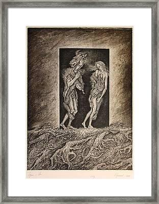 Adam And Eve Framed Print by Leonid Stroganov