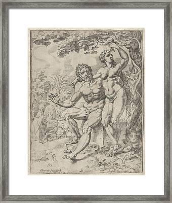Adam And Eve Picking The Forbidden Fruit Framed Print by Dirck Volckertsz Coornhert