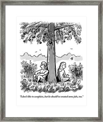 Adam And Eve Sit Back To Back Against A Tree Framed Print