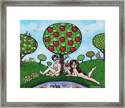 Adam And Eve The Naked Truth Framed Print by Victoria De Almeida