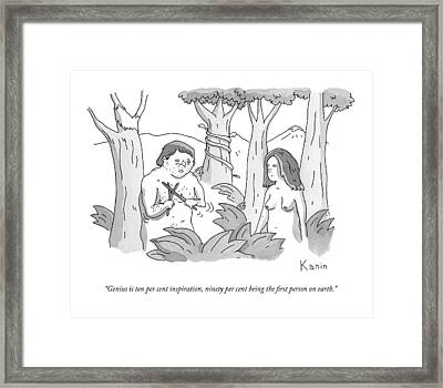 Adam Plays With Two Sticks In The Garden Of Eden Framed Print