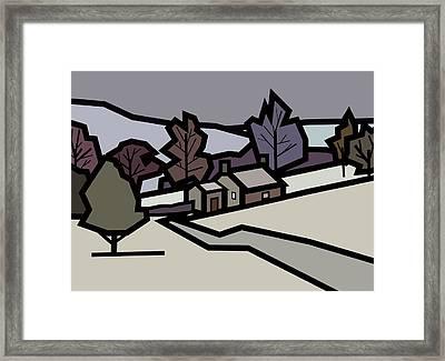 Adam's Farm In Winter Framed Print by Kenneth North