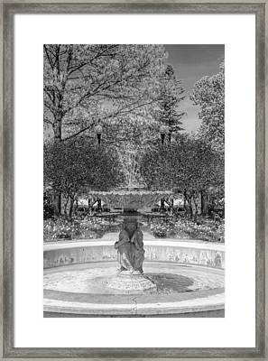 Adams Park Fountain Black And White Framed Print