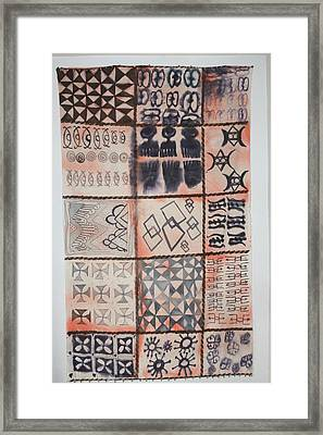 Framed Print featuring the tapestry - textile Adinkra Cloth With Bells by Carrie Maurer