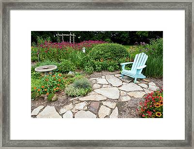 Adirondack Chair, Birdbath Framed Print