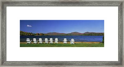 Adirondack Chairs At Lakeside, Blue Framed Print by Panoramic Images