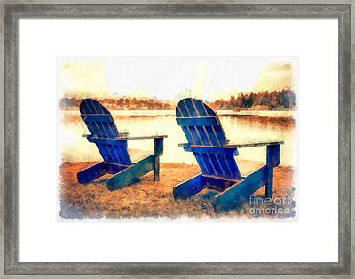 Adirondack Chairs By The Lake Framed Print by Edward Fielding