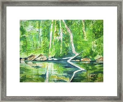 Framed Print featuring the painting Adirondack Zen by Ellen Levinson