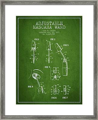 Adjustable Mascara Wand Patent From 1979 - Green Framed Print by Aged Pixel