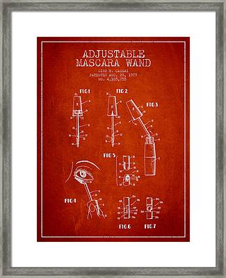 Adjustable Mascara Wand Patent From 1979 - Red Framed Print by Aged Pixel