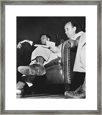 Adlai Stevenson Hole In Shoe Framed Print by Underwood Archives