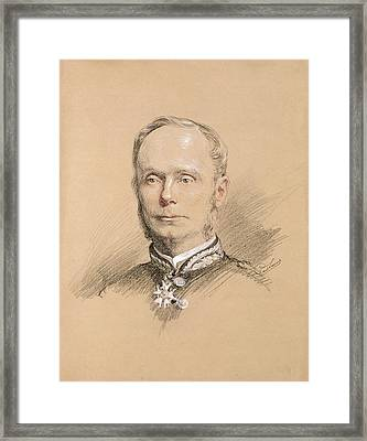 Admiral Amedee Anatole Courbet 1827-85 Pencil On Paper Framed Print by Paul Sarrut