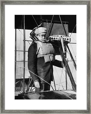 Admiral Peary Goes Flying Framed Print by Underwood Archives
