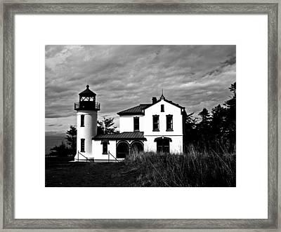 Admiralty Head Lighthouse Bw Framed Print