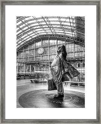 Admiration - Sir John Betjeman At St Pancras Station London Framed Print by Gill Billington