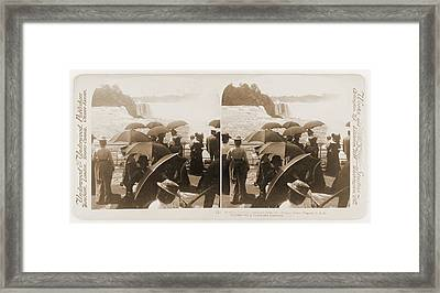 Admiring Tourists Viewing The Falls, From Prospect Point Framed Print by Litz Collection