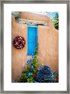 Adobe And Blue Framed Print by Bob and Nancy Kendrick