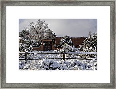 Framed Print featuring the photograph Adobe Snow by Gina Savage