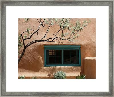 Adobe Window In Green Framed Print