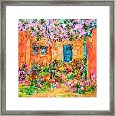 Adobe With Pink Flowers Framed Print