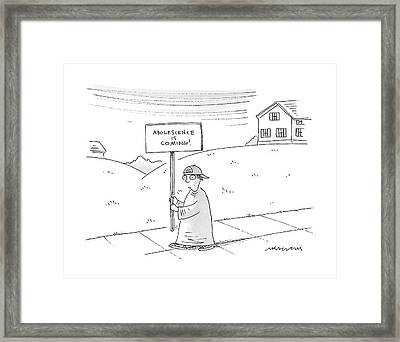 Adolescence Is Coming Framed Print by Mick Stevens